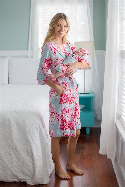 mae floral maternity nursing nightgownrobe baby receiving gown set gownies