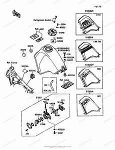 Kawasaki Motorcycle 1987 Oem Parts Diagram For Fuel Tank