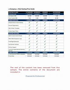 web site hosting price guide example if you sell web With project management manual template