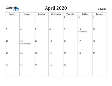 april  calendar guyana