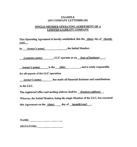 free operating agreement template 30 free professional llc operating agreement templates free template downloads
