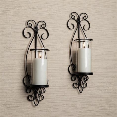 Candle Wall Sconces by Danya B San Remo Black Candle Wall Sconce Set Of 2 Kf632