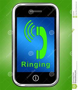 Ringing Icon On Mobile Phone Shows Smartphone Call Royalty ...