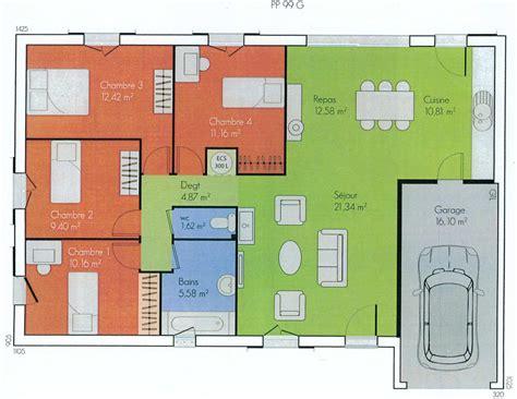 plan maison plain pied 3 chambres avec garage plan maison plain pied avec garage