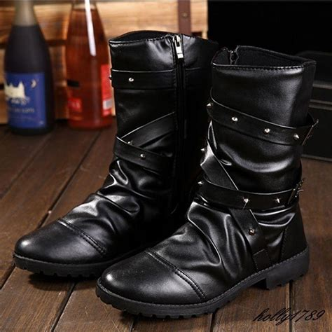 Fashion Mens Gothic Boots Punk Rock Round Toe Booties