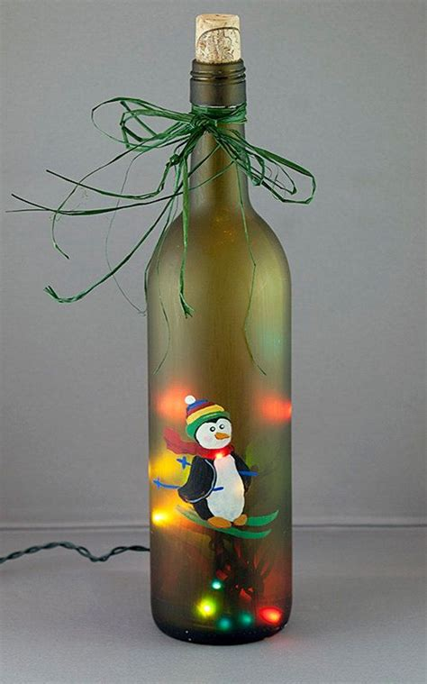 lighted wine bottles penguin skiing lighted wine bottle painted seasonal