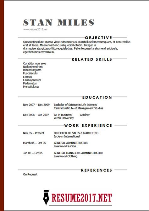Resume Template 2018 Resume Format 2018 16 Templates In Word