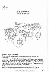 2000 Honda Trx300 Fourtrax 300 Atv Owners Manual
