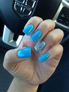Blue nails I had recently #blue #nails #fake #long # ...