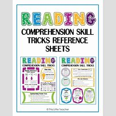 This Little Teacher Reading Comprehension Skill Reference Sheet  Digital Download