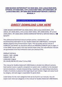1998 Seadoo Watercraft Gs 5626 5844  Gsx Limited 5629 5845