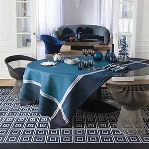 Nappe Jacquard Français : nappe de table coton et lin reception bleu jacquard ~ Teatrodelosmanantiales.com Idées de Décoration