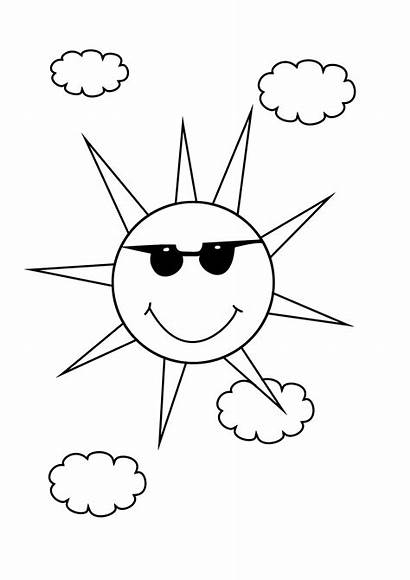 Coloring Summer Sun Pages Colouring Easy Adult