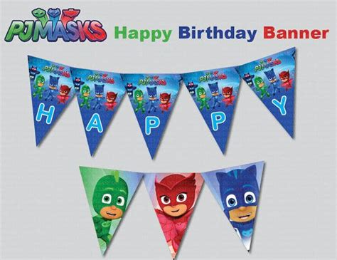 free printable birthday banners personalized instand dl pj masks happy birthday banner printable