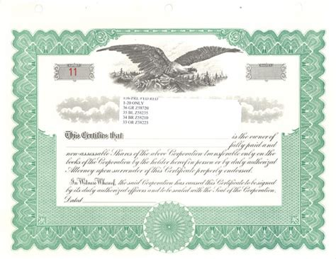stock certificates blank  printable documents