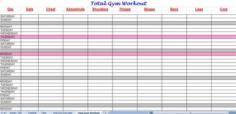 excel workout templates excel xlts