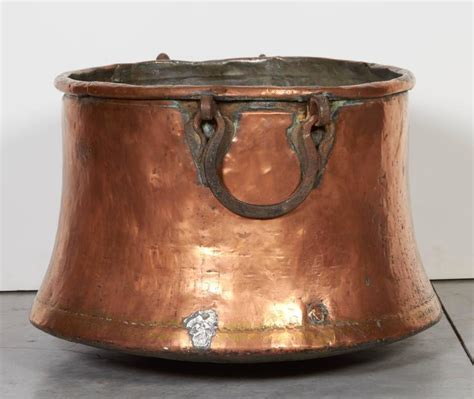 hammered l base large antique copper kettle with flared base and heavy