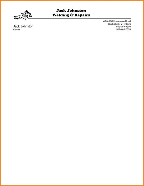 personal letterhead template  invoice letter