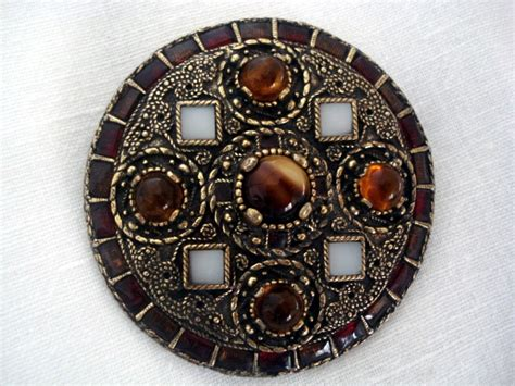 vintage miracle brooch anglo saxon style disc brooch