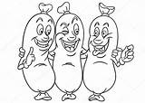 Coloring Friends Three Colouring Sausages Fotolia sketch template