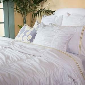 White Ruched Textured Duvet, The Mirabel White ...
