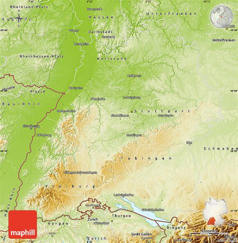 Find what to do today, this weekend, or in august. Physical Map of Baden-Württemberg