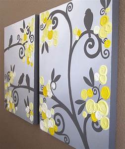 Wall art yellow grey flowers and birds textured acrylic