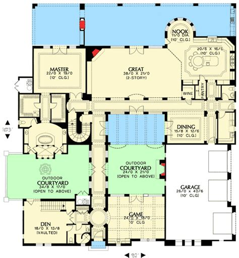 courtyard home floor plans plan w16377md tuscan home with two courtyards e architectural design