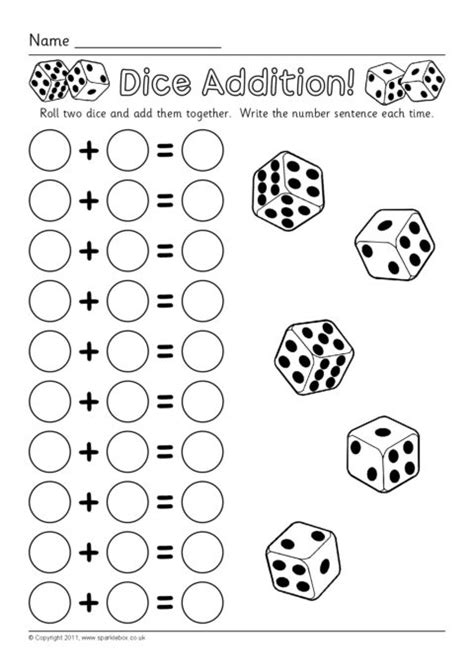 worksheets using dice dice addition worksheets sb6050 sparklebox
