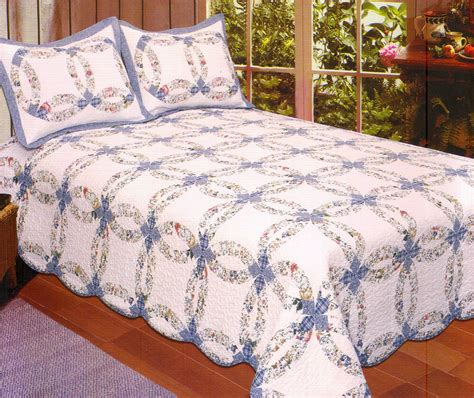 blue wedding ring king quilt cottage country floral garden ebay