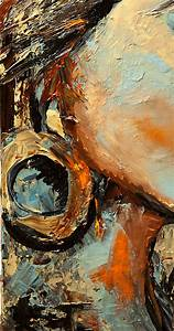 painting modern abstract portrait palette knife painting