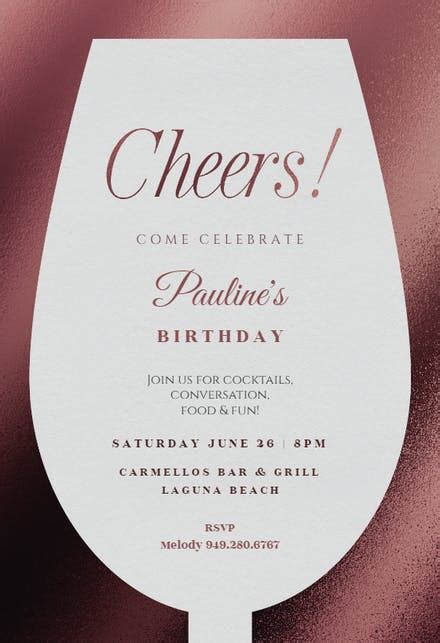 wine glass birthday invitation template   island