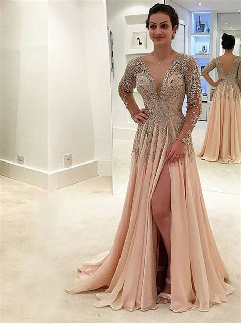 A-Line Deep V-Neck Long Sleeves Pearl Pink Tulle Backless ...