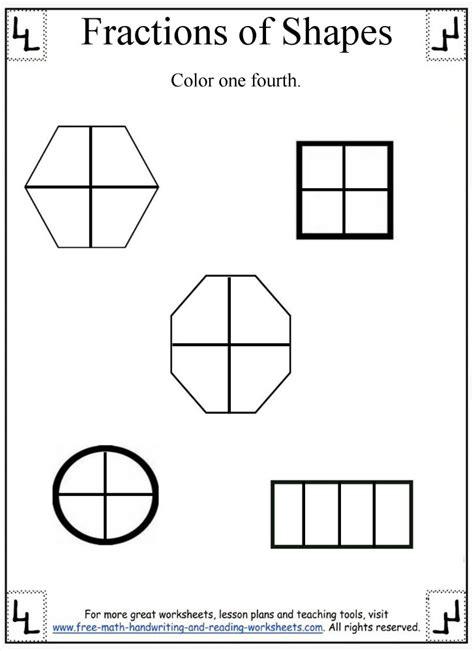 fractions of shapes worksheet fractions worksheet