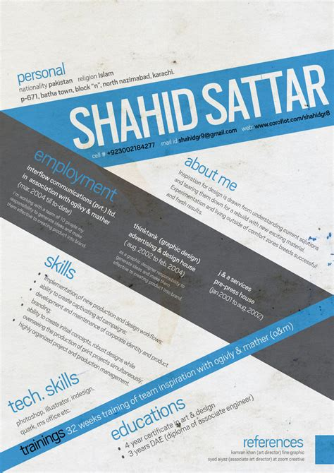 graphic design cv by shahidgr8 on deviantart