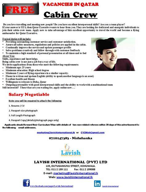 cabin crew qatar vacancies in sri lanka top