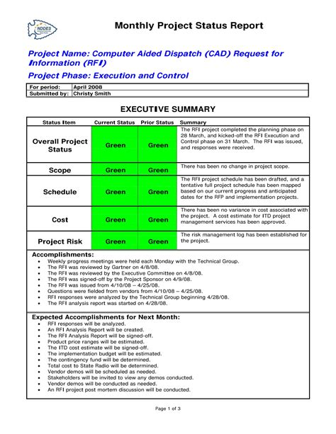 status report examples   examples