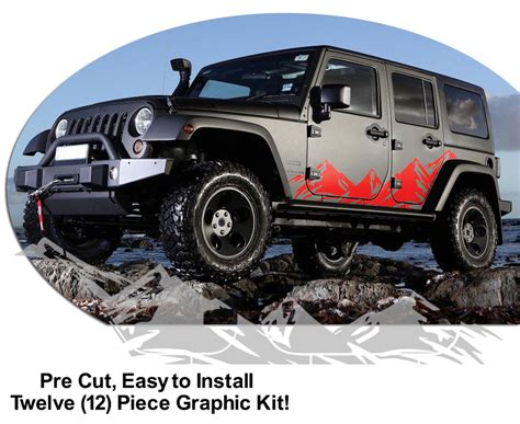 mountain jeep decals jeep wrangler mountain range body side graphics kit 2007 2015