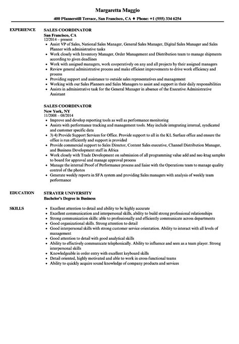 Coordinator Resume by Sales Coordinator Description Resume Sales Coordinator