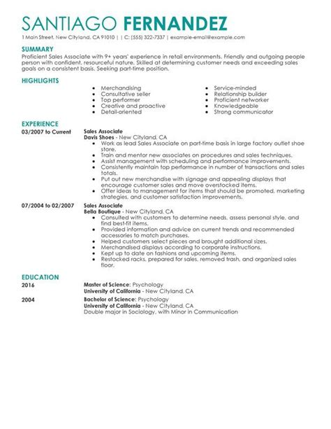 Resumes For Sales Associates by Part Time Sales Associates Resume Sle
