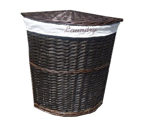 Wicker Corner Laundry Basket With Lid + Linning Bathroom