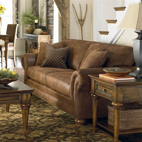 leather and fabric loveseat classic nailhead trim upholstered sofa available in a