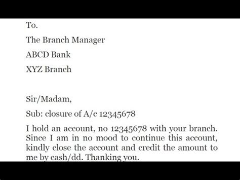 letter writing  bank account closed letter  close