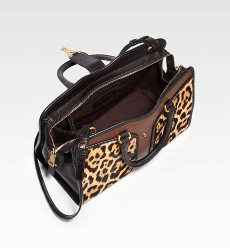 laurent ysl mini cabas chic mixedmedia satchel in brown leopard print lyst