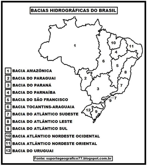 MAPA HIDROGRAFIA DO BRASIL PARA COLORIR SUPORTE GEOGRÁFICO