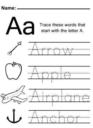 trace  letter  worksheet  images alphabet