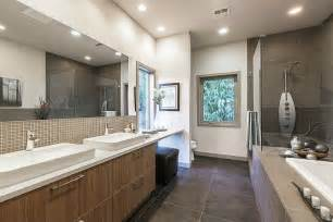 contemporary master bathroom with concrete tile subway