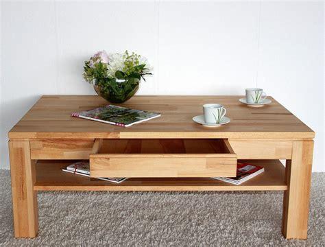 Massivholz Couchtisch 115x70 Wohnzimmertisch 1 Schubkasten