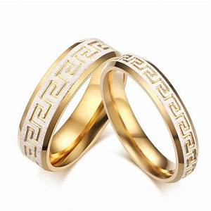 Wedding ring gold color greek key pattern couple rings for Wedding rings designers