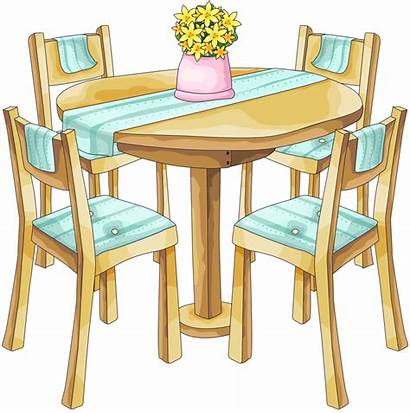 Table Dining Clipart Clip Dinner Chairs Kitchen